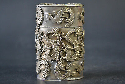 Nice Collectible Delicate Handwork Old Miao Silver Inlay Dragon Phoenix Box