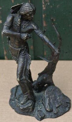 Super Very Detailed Signed Bronze Figure Of Indian With Bow