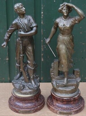 Large Pair Of Old Signed Very Detailed Metal Figures On Bases To Tidy Up