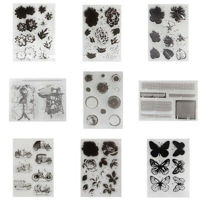 Transparent DIY Silicone Clear Flower Stamp Sheet Cling Scrapbooking Card Craft