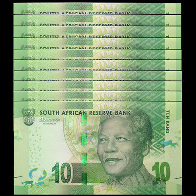 LOT 10 PCS, South Africa 10 Rand, ND 2015/2016, P-138 NEW, NEW SIGNATURE, UNC