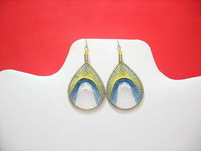 Thread Earrings Peruvian Earrings cotthon thread Peacook Style Small Size # 231