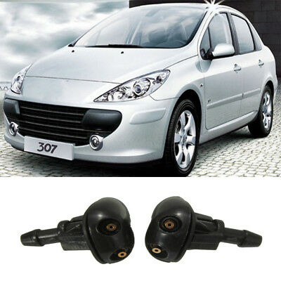 2Pcs Front Windscreen Spray Mist Type Water Washer Jets Nozzle For Peugeot 307