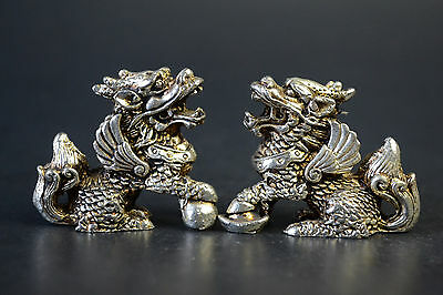 Collectible Handwork Old Tibet Silver Carve Pair Myth Flying Dragon Statue