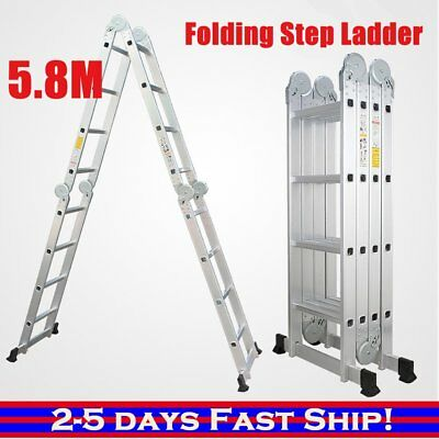 5.8m Multipurpose Ladder Aluminium Extension Folding Adjustable Step AUS DSW