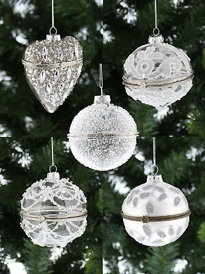 Deluxe Trinket Glass Opening Bauble Christmas Tree Decoration Hanging Xmas