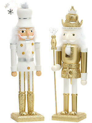 "Wooden Deluxe Gold Nutcracker Soldier 15"" Christmas Decoration Glitter Xmas Gift"