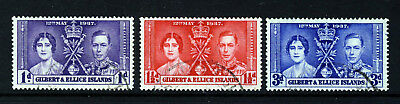 GILBERT & ELLICE ISLANDS KG VI 1937 Complete Coronation Set SG 40 to SG 42 VFU