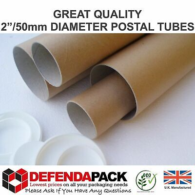"""10 x 1320mm 52"""" x 2"""" 50mm EXTRA LONG CARDBOARD POSTAL TUBES Mailing Posters ART"""
