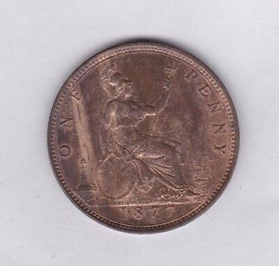 1877 Victoria Copper Penny In Extremely Fine Condition