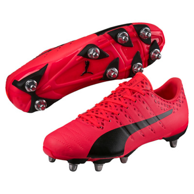 Puma evoPOWER Vigour H8 SG Fiery Coral Black Rugby Boots Size UK  7 - 14