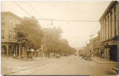 7th & East Centre St Old Cars Boater Hat Men Chat ASHLAND PA Real Photo Postcard