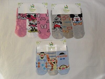 3pk disney baby socks.tigger,mickey or minnie mouse.3-9 or 12-18mths