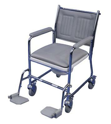 Aidapt Linton Mobile Wheeled Commode with Footrests (Flat Packed)