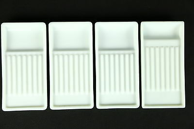 "Group of Four Antique Milk Glass Dental Trays, Signed ""Two Rivers"""