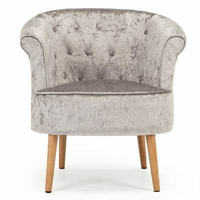Dahlia Crushed Velvet Occasional Accent Bedroom Tub Chair Armchair Silver Fabric