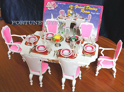 GLORIA Dollhouse FURNITURE SIZE FOR BARBIE GRAND DINING PLAYSET w/Chairs