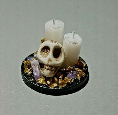 SKULL candle ornament spooky witch handmade 1:12th scale dolls house miniature