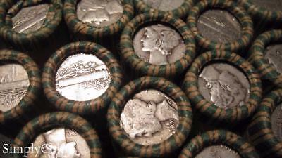 (50) Mixed Date Mercury Dime Roll ~ Full Dates ~ 90% Silver US Coin Lot Set