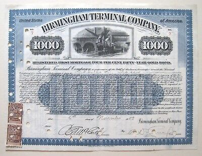 Birmingham Terminal Alabama Railroad $1000 Bond 1908