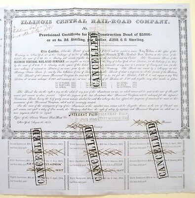 Illinois Central Railroad $1000 provisional Bond 1852