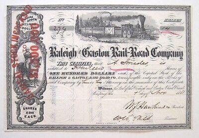 1861 Confederate Civil War Raleigh Gaston (NC) Railroad Stock