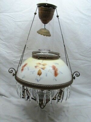 Antique Dome Milk Glass Painted Shade Hanging Oil Lamp Light Weighted