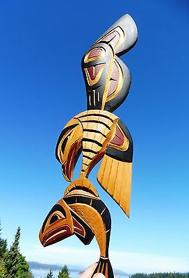 Northwest Coast First Nations Native wooden Art carving EAGLE catching SALMON