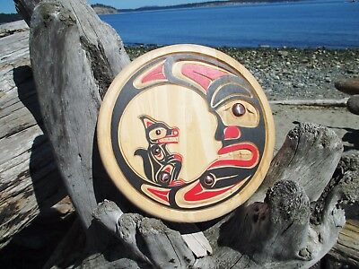 Northwest Coast native Art carving: Wolf in Moon panel First Nations, Indigenous