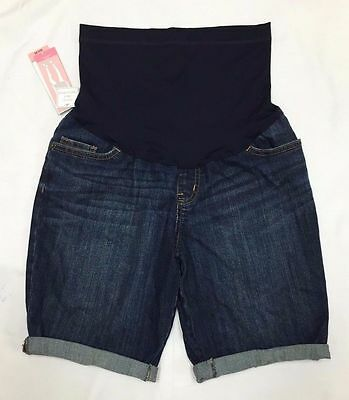 *New* Liz Lange Size Small Cute Maternity Over The Belly Denim Bermuda Shorts!