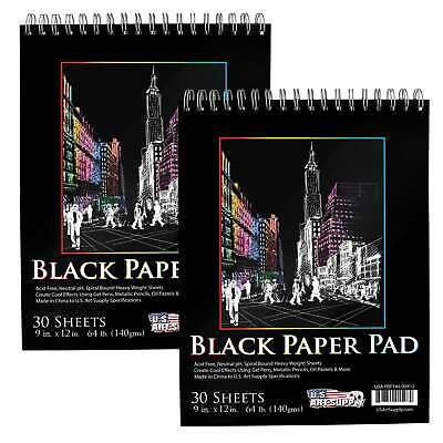 "9""x12"" Black Heavyweight Paper Spiral Bound Sketch Pad,140gsm,30 Sheets (2 Pads)"