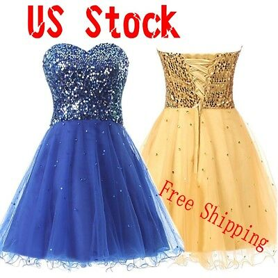 Stock Short Sequin Prom Cocktail Homecoming Dress Bridesmaid Formal Party Gown