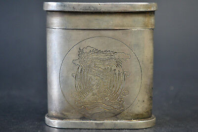 Fine Vintage Tibet Silver Hand Carved Dragon Phoenix Pattern Decor Box