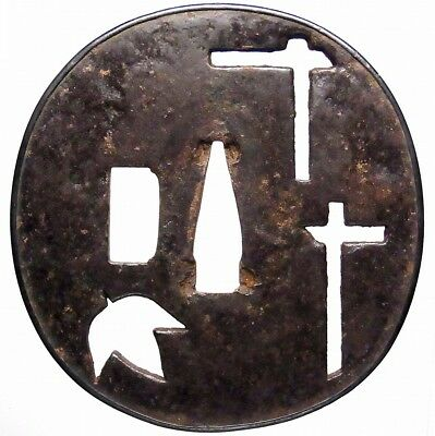 """Hidden CROSS"" Kirishitan Christian's TSUBA 17-18th C Japanese Edo Antique e1343"