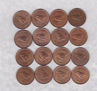 Set Of 16 George Vi Wren Farthings 1937 To 1952 In A High Grade Condition