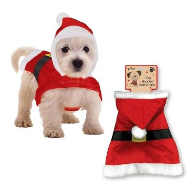 Novelty Christmas Santa Outfit Dog Puppy Hooded Cape Fancy Dress Coat Xmas PESC