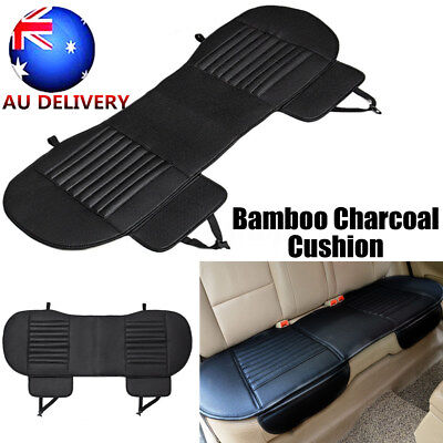 Car Rear Seat Cover Bamboo Breathable Leather Pad Mat Chair Mat Cushion Black