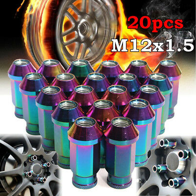 20 Pcs Wheels Rims Aluminum M12X1.5 50mm Open Extended Tuner Steel Lug Nuts Set