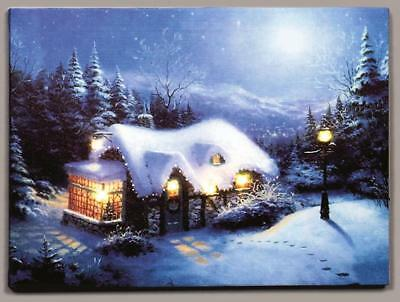 Led Christmas Canvas - Snowy House With Bay Window - 30Cm X 40Cm