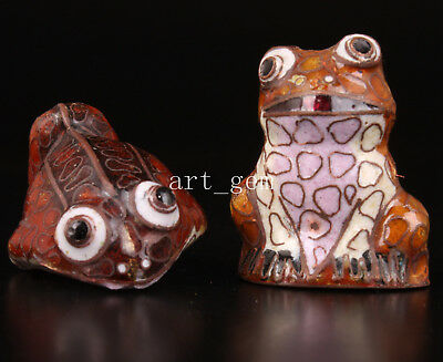 2 Figurines Cloisonne Hand-Enamel Frog Statue Collectable Old Decoration