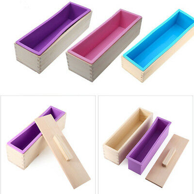 900g/1200g Rectangle Silicone Soap Candle Loaf Mold Wooden Box Making Tools UK