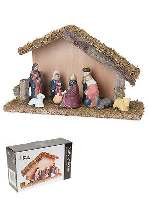 Christmas Nativity Set Xmas 9 Piece Wooden Ceramic Crib Stable Traditional Scene