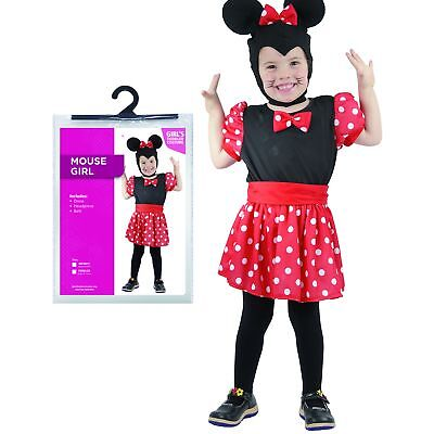 Ages 1-4 Girls Mouse Costume Halloween Fancy Dress Party Infant Toddler Cute