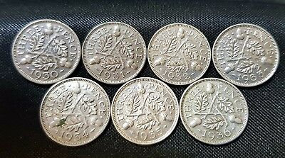 1930-1936 George V Silver Threepence Acorn Design Choice Of Date Fine Or Better