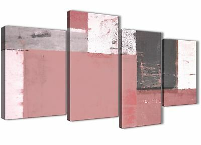 Large Blush Pink Grey Abstract Painting Wall Art Print - 4 Set 130cm Wide - 4334