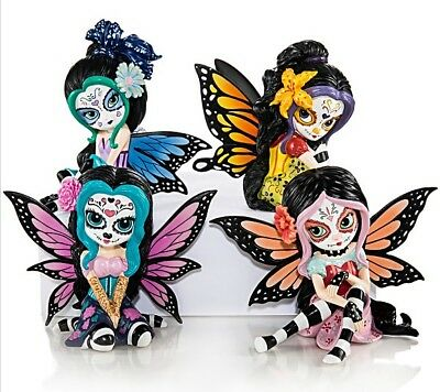 Set of 4 Sugar Skull Fairy Figurine  - Jasmine Becket Griffith