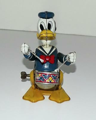 "DISNEY1950's""DONALD DUCK THE DRUMMER""LITHOGRAPHED TIN LINEMAR WIND-UP TOY-WORKS!"