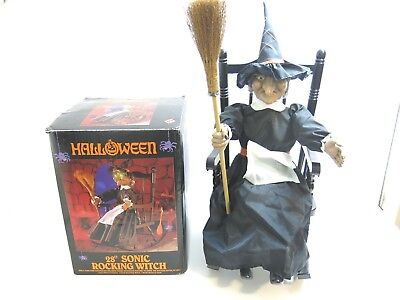 """Vintage Halloween 28"""" Sonic Rocking Witch Animated With Box Model Lrw-4"""