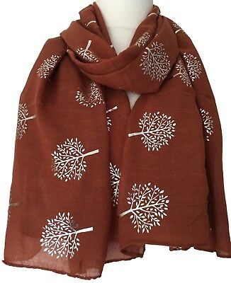 Brown Scarf Silver Tone Tree Ladies Large Wrap Foil Mulberry Trees Style Shawl