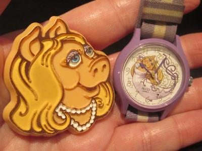 Miss Piggy Vintage 1979 Plastic Brooch Pin & Watch (AS IS) With Striped Strap